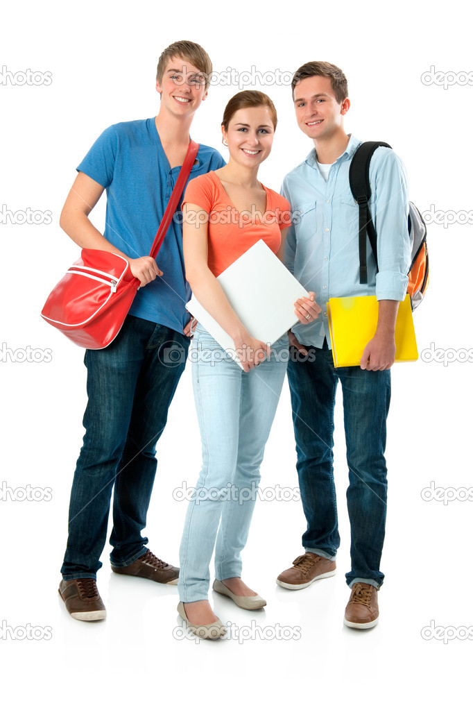 Happy smiling students standing together. Isolated on white background — Foto Stock #6871514