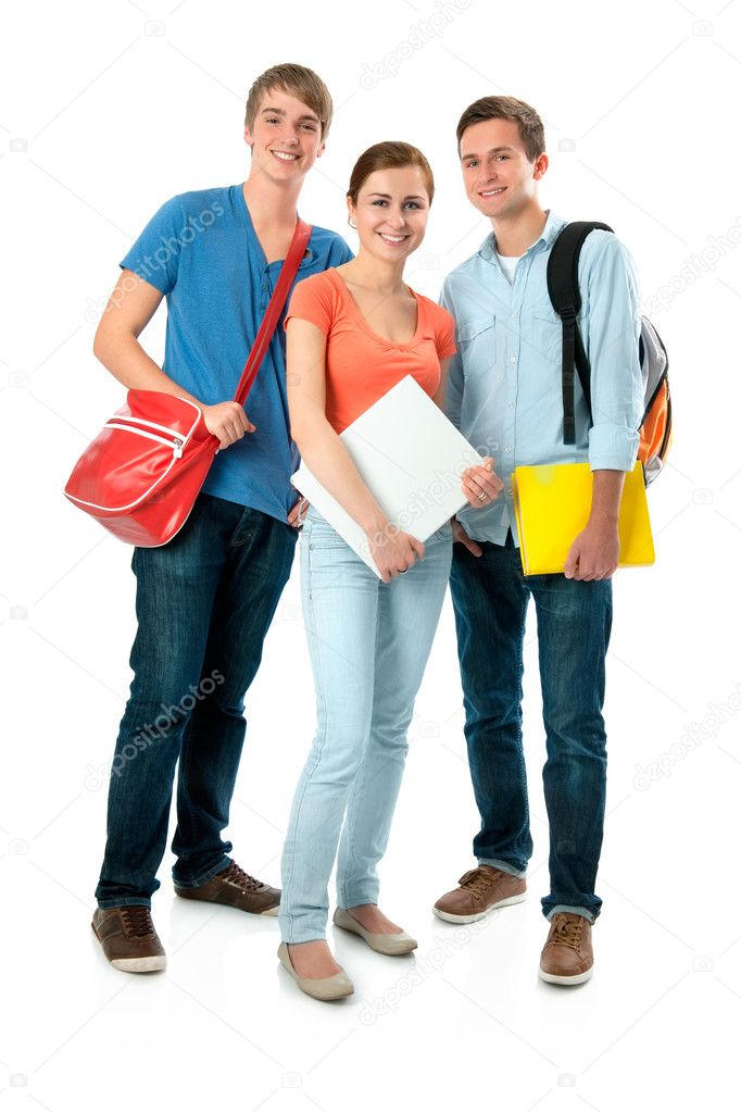 Happy smiling students standing together. Isolated on white background  Zdjcie stockowe #6871514