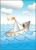 Paper boat — Stock Vector