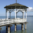 White gazebo on bodensee, bregenz - Stock Photo