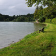 Walk near lake, kochelsee - Stock Photo