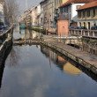 Naviglio lock in winter, milan - Stock Photo