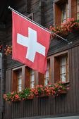 Bandiera rossa con geranio, andermatt — Foto Stock