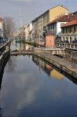 Naviglio lock in winter, milan — Stock Photo