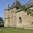 Side of st etienne fortified church, sernion — Stock Photo