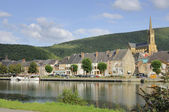 Fumay and meuse river, ardennes — Stock Photo