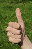 All right, right hand sign, green grass — Stock Photo