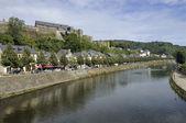 Semois river and bouillon castle, ardennes — Stock Photo