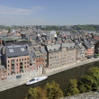 Sambre river bank and cityscape, namur — Stock fotografie