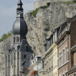 Notre dame and citadelle, dinant — Stock Photo
