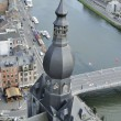 Bell tower and meuse, dinant — Stock Photo
