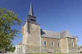 Square and church, signy le petit, ardennes — Stock Photo