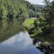 Family fishing in semoy river, ardennes - Stock Photo