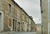 Street under cloudy sky, revin, ardennes — Stock Photo