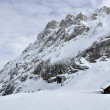 Hut at collac peak in winter, dolomites — ストック写真