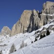 Rosengarten snowy crags, dolomites - Stock Photo