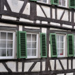 Green shutters on wattle facade, tubingen - Stock Photo