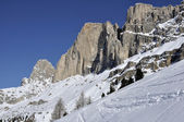 Rosengarten snowy crags, dolomites — Stock Photo