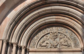 Baptistry portal, parma — Stock Photo