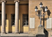 Lampost at verdi opera-house, parma — Stock Photo