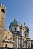Monumental cathedral square, brescia — Stock Photo