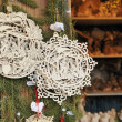 Fretwork at medieval market, esslingen — Stock Photo