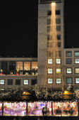 Town hall with christmas market, stuttgart — Stock Photo