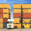 Forklift and truck with shipping containers — Stock Photo #6827092