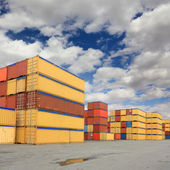 Containers in logistic harbor — Stock Photo
