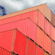 Containers in logistics harbor - Foto Stock