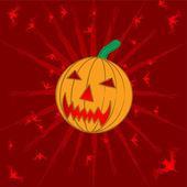 Tête d'halloween avec le vol des chauves-souris — Vecteur