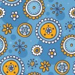 Royalty-Free Stock Vector Image: Blue pattern with cute flowers