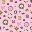 Cute pink floral seamless pattern — Stock Vector
