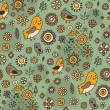 Royalty-Free Stock Vector Image: Green pattern with brown birds