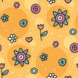 Stock Vector: Seamless orange pattern with flowers and circles
