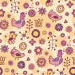 Stock Vector: Seamless pattern with birds and flowers