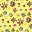 Yellow floral pattern with some abstract elements — Stock Vector