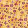 Yellow seamless pattern with cute elements — Stock Vector