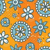 Bright orange pattern with floral elements — Stock Vector