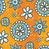 Lumineux orange motif avec les éléments floraux — Vecteur