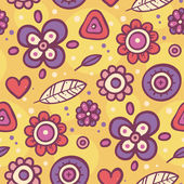 Bright seamless pattern with flowers and dots — Stock Vector