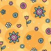 Seamless orange pattern with flowers and circles — Stock Vector