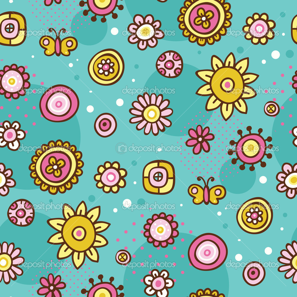 Stock photo - Vector flower pattern. Seamless cute spring, summer