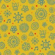 Royalty-Free Stock Vector Image: Beautiful yellow pattern with cute elements and red dots