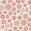 Gray pattern with cute red flowers - Stock Vector