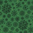 Green seamless pattern with black floral elements - Stock Vector