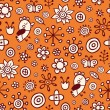 Orange party - cute seamless pattern — Stock Vector