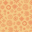 Orange pattern with cute elements - Stock Vector