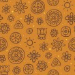 Orange seamless pattern with cute elements - Stock Vector