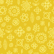 Yellow fantasy - seamless pattern - Stock Vector